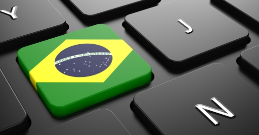 Flag of Brazil - Button on Black Computer Keyboard.